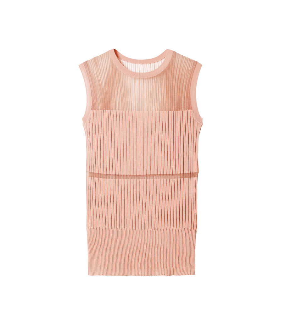 Transparent Sleeveless Knit Tops