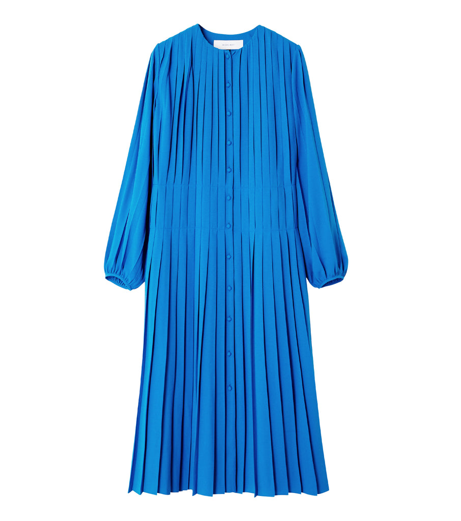 Pleated Collarless Dress