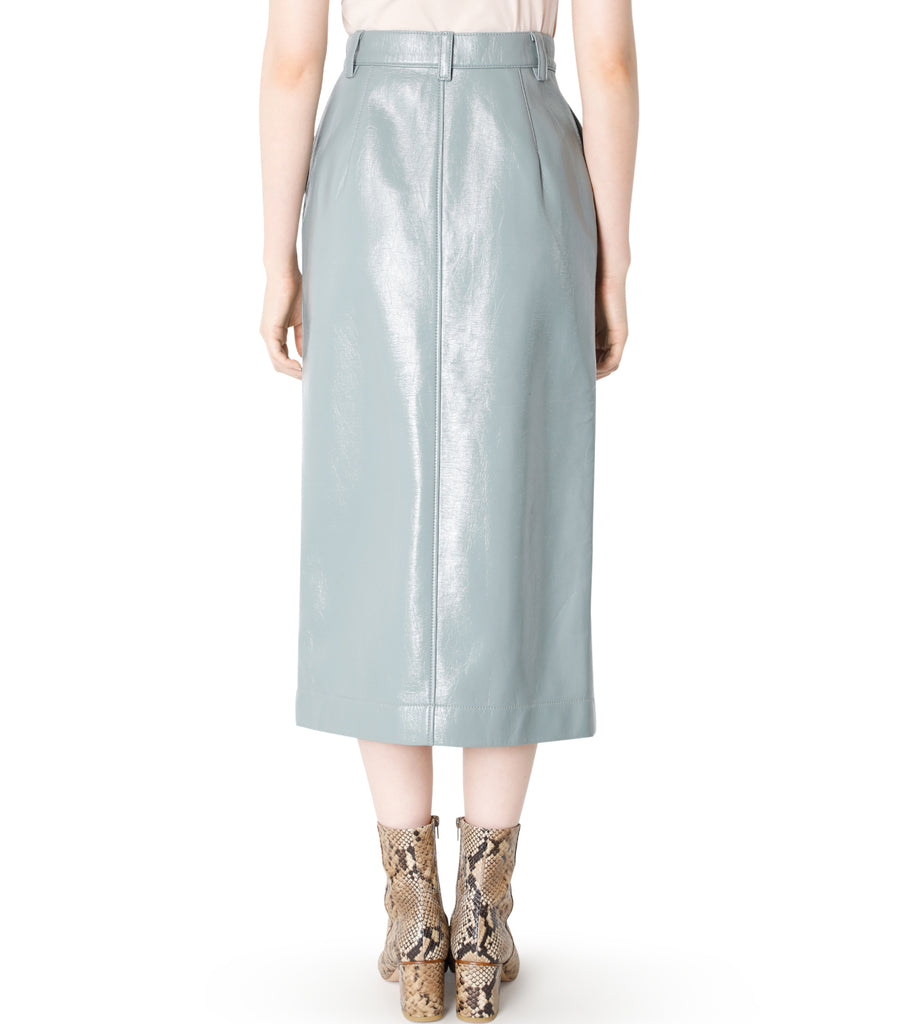 Faux Patent Leather Pencil Skirt