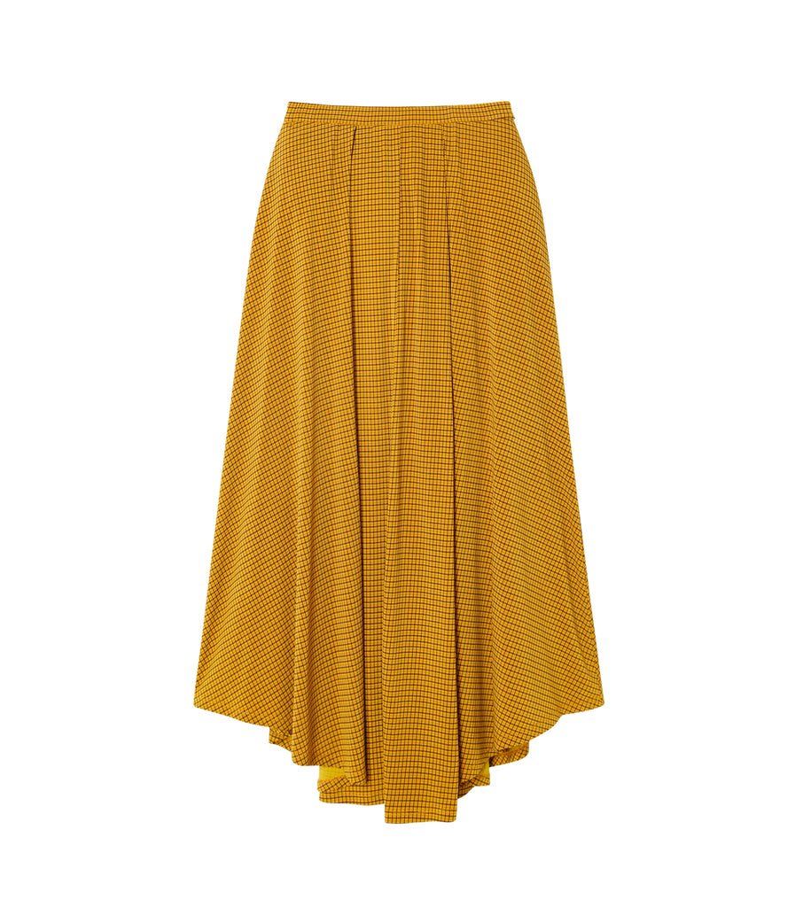 Check Jersey Flare Skirt