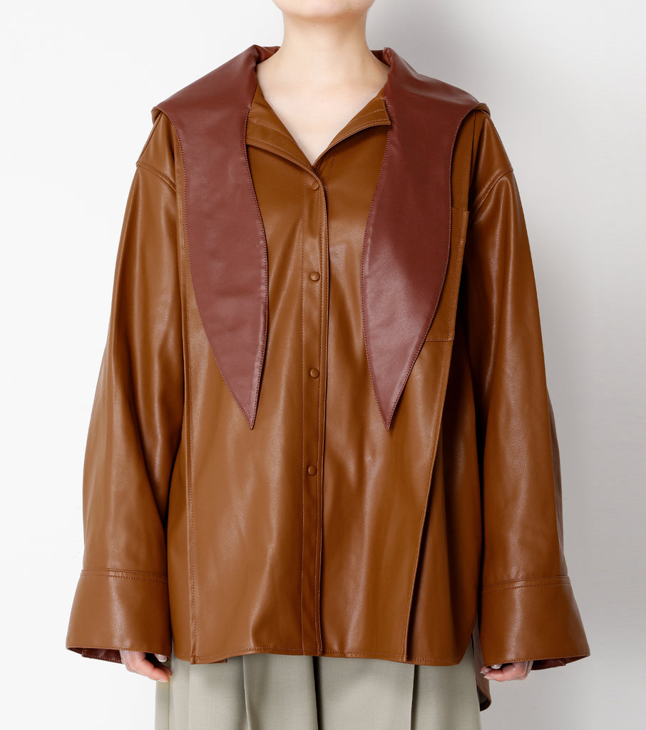 Faux Leather Hoodie Shirt