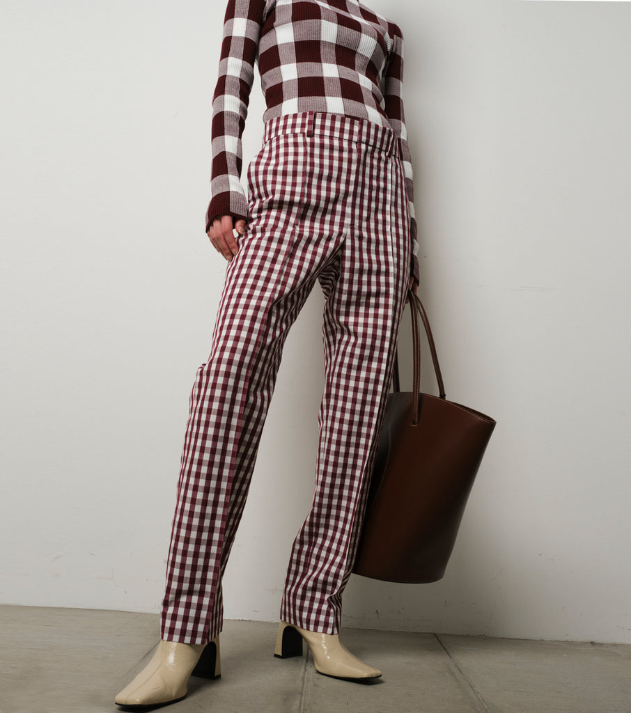 Gingham Tailored Tapered Pants