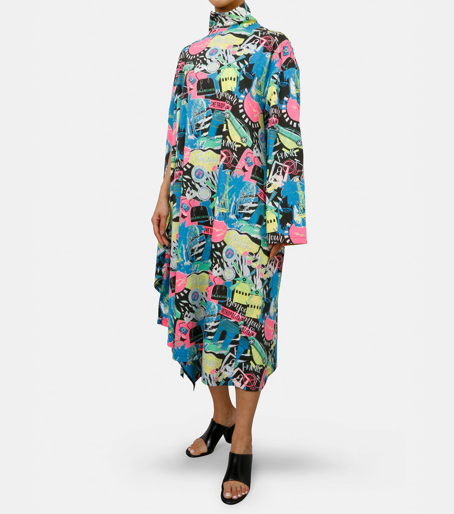 Paris By Night Print Drape Dress