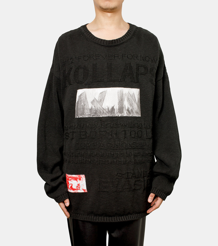 Oversized knit Kollaps relief & 2 patches