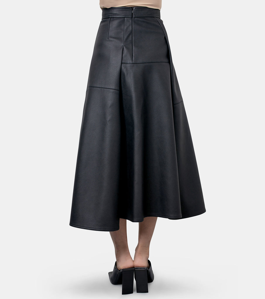 Eco-Leather Pleated Midi Skirt