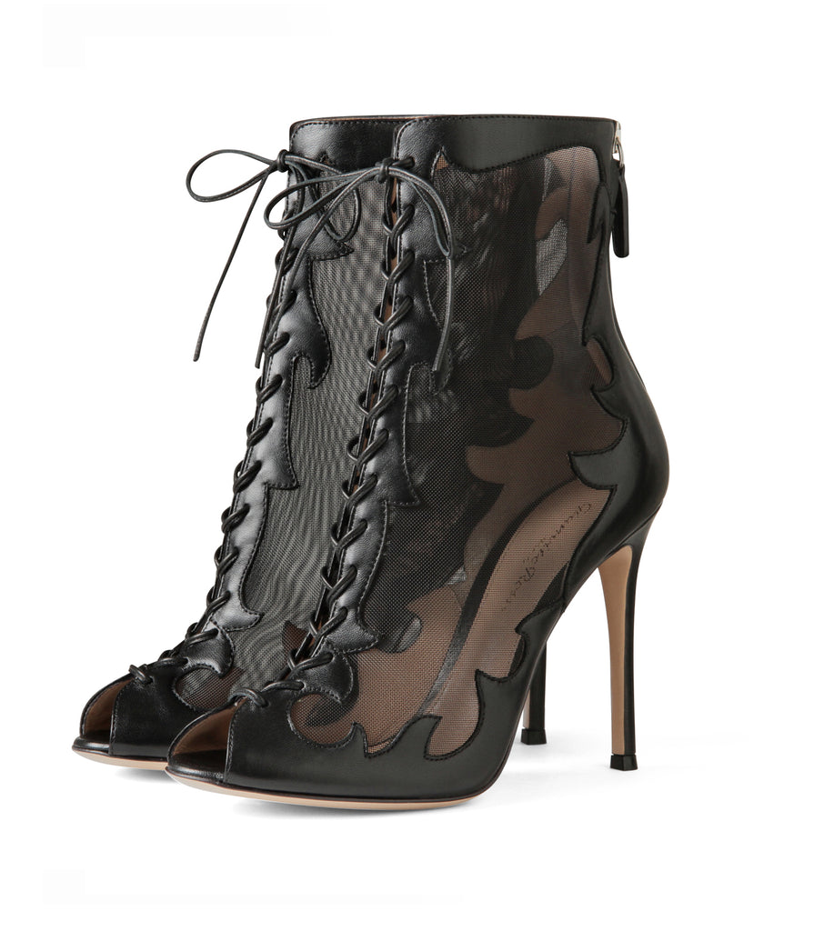 Western Sheer Lace Up Boots