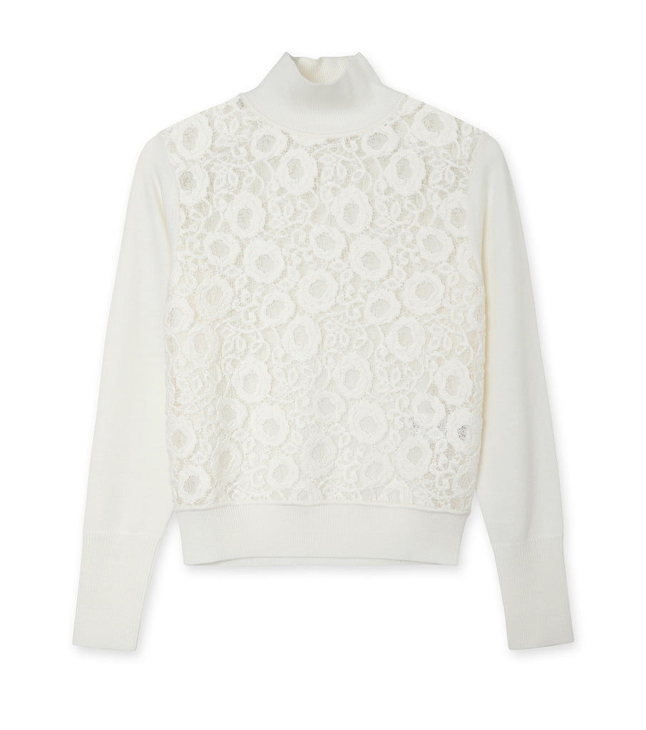 Wool Knit & Lace Highneck