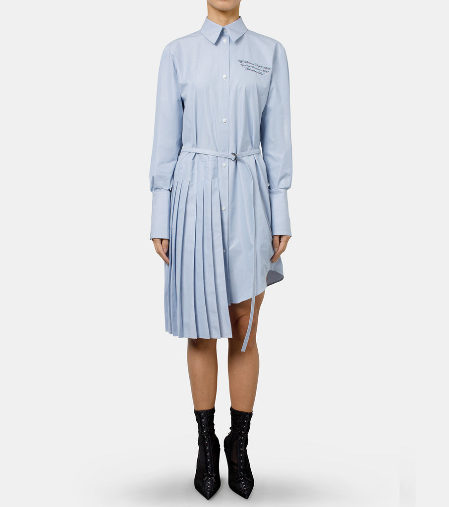 Striped Popeline Plisse Shirt Dress