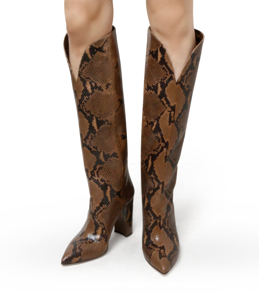 Snake Print High Boots Round Edge