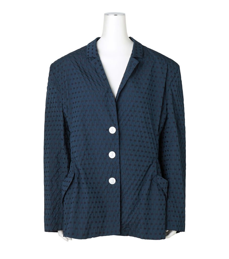 Jacquard Gingham LS Roll Collar Over