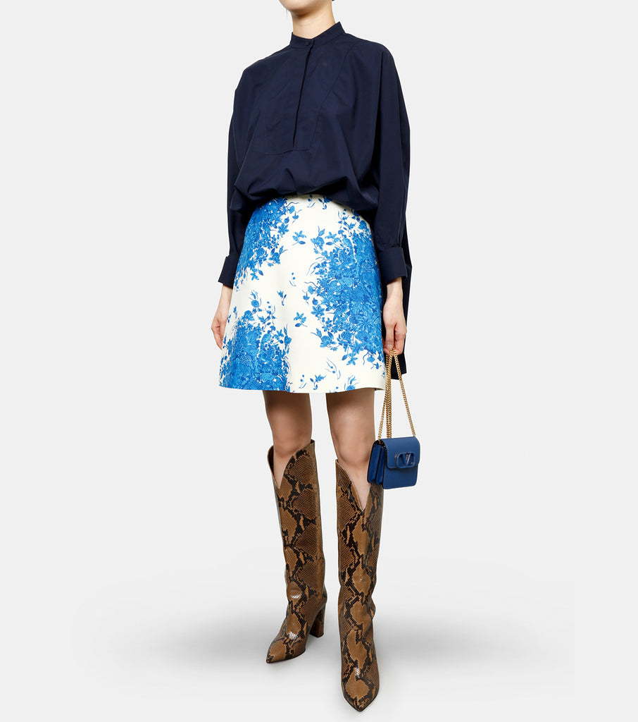 Blue Flower Mini Skirt