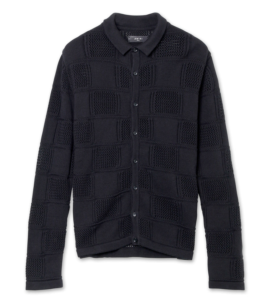 Checkered Knitted Polo Shirt