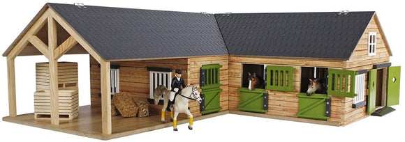 Kid's Globe Wooden Corner Horse Stable 1:24