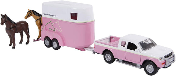 Kid's Globe Pink/White Jeep & Horse Trailer Set