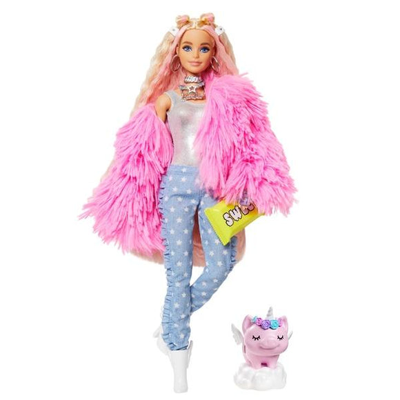 Barbie Extra Doll - Pink Fluffy Coat with Pet Unicorn-Pig - McGreevy's Toys Direct