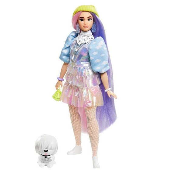 Barbie Extra Doll - Shimmer Look with Beanie and Pet Puppy - McGreevy's Toys Direct