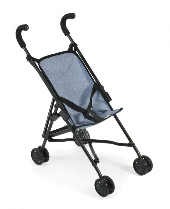 Bayer Chic Denim Blue Fold-up Doll's Pram - McGreevy's Toys Direct