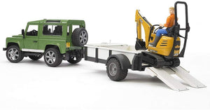 BRUDER 2593 Land Rover Defender with Trailer and JCB micro Excavator - McGreevy's Toys Direct