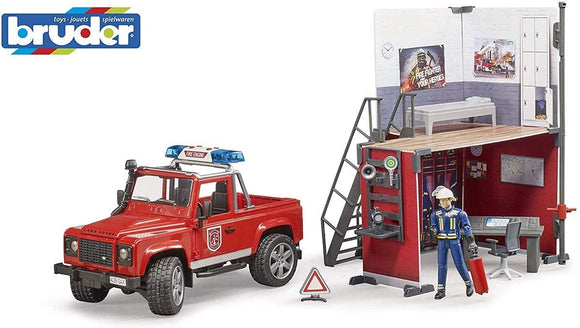 Bruder bworld Land Defender with Fire Station 1:16 Scale - McGreevy's Toys Direct