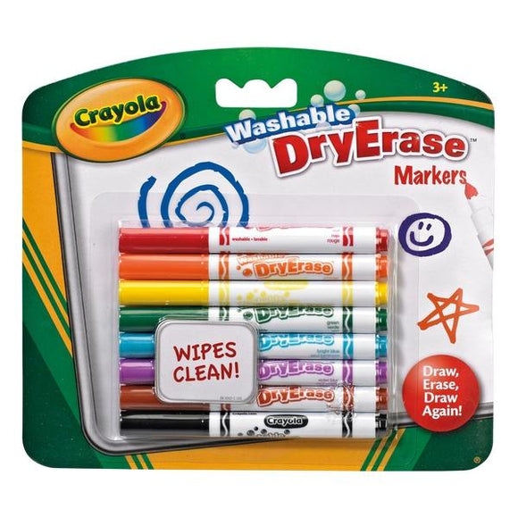 Crayola 8 Washable Dry Erase Markers - McGreevy's Toys Direct