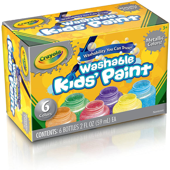 Crayola Washable Kids Paint Metallic 6 Pack - McGreevy's Toys Direct