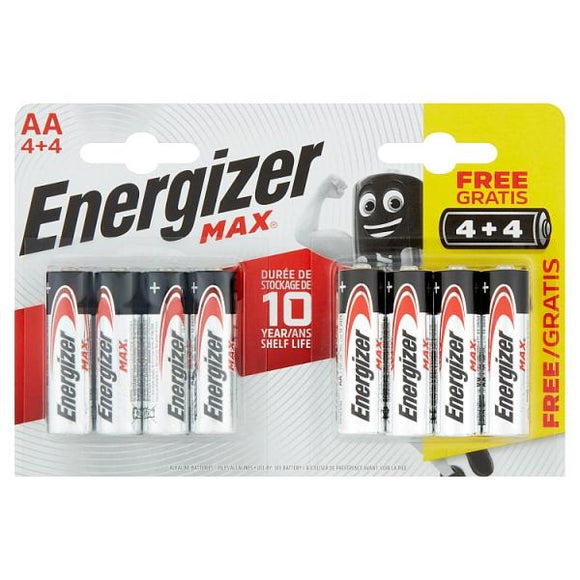 Energizer Max AA Batteries 4 + 4 8 Pack - McGreevy's Toys Direct