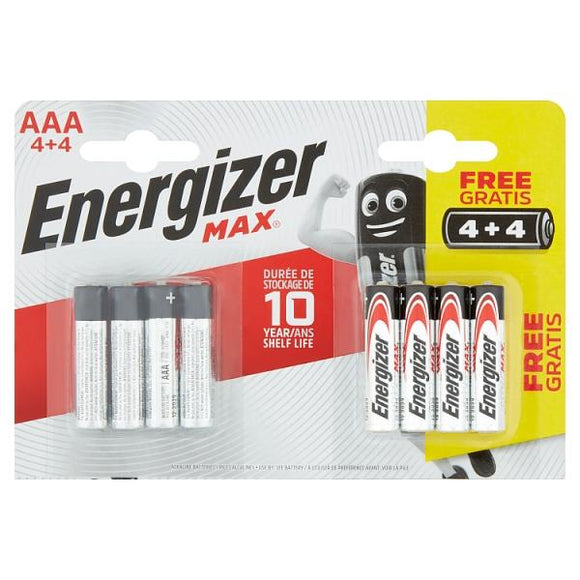 Energizer Max AAA Batteries 4 + 4 8 Pack - McGreevy's Toys Direct
