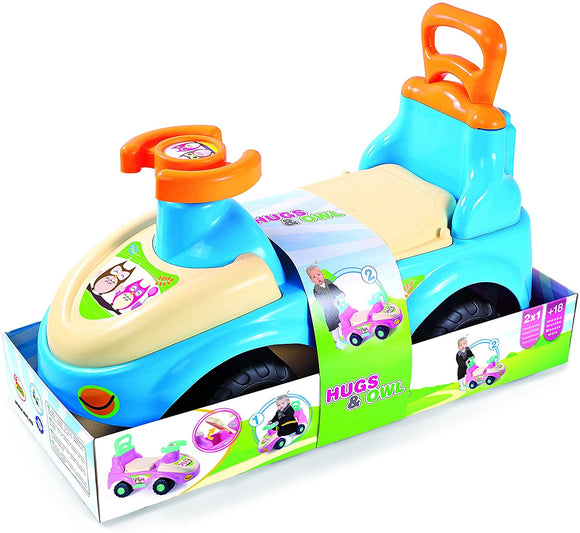 Hugs & Owl 2in1 Side and Ride - Blue - McGreevy's Toys Direct