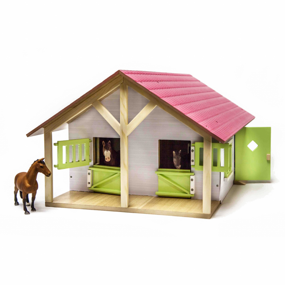 Kid's Globe Wooden Pink Horse Stable 1:24 Scale