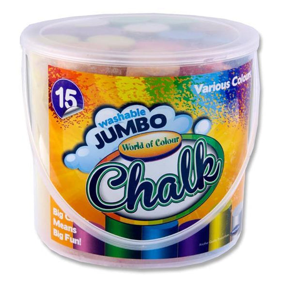 Jumbo Sidewalk Chalk 15pcs Bucket - McGreevy's Toys Direct