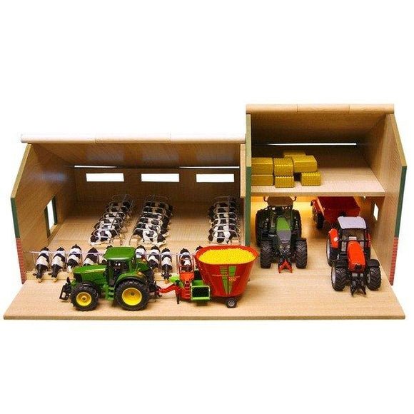 Kids Globe Cattle & Machinery Shed 1:32 Scale - McGreevy's Toys Direct