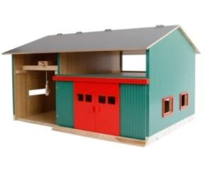 KIDS GLOBE Workshop with Storage and Red Sliding Doors 1:32 Scale - McGreevy's Toys Direct