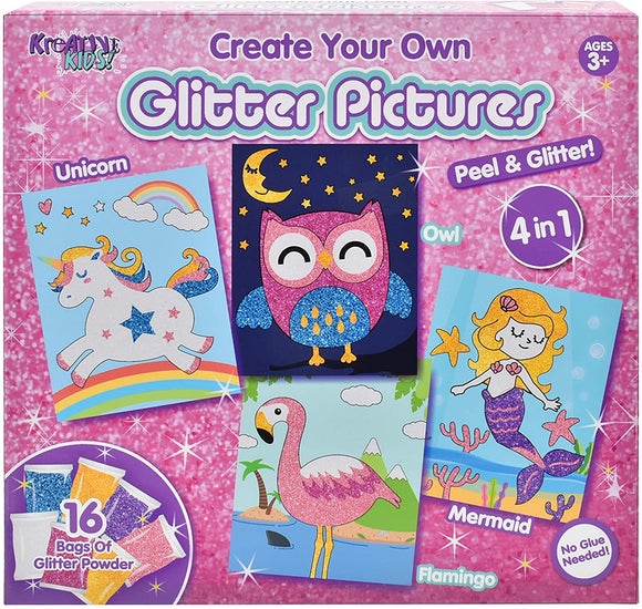 Kreative Kids Create Your Own Glitter Pictures 4 in 1 - McGreevy's Toys Direct