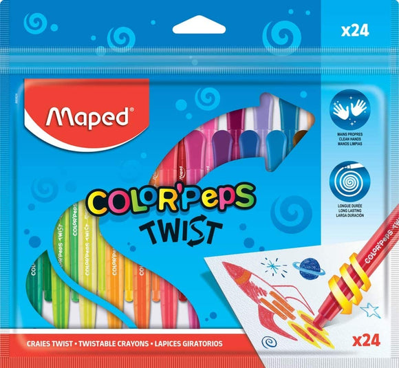 Maped Color'Peps Twist Colouring Crayons 24pack - McGreevy's Toys Direct