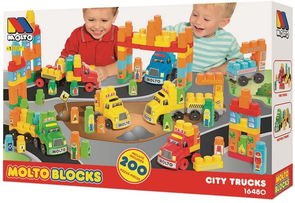Molto Blocks City Trucks 200 Piece Construction Set - McGreevy's Toys Direct