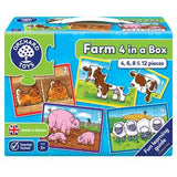Orchard Toys Farm Four in a Box Jigsaw - McGreevy's Toys Direct