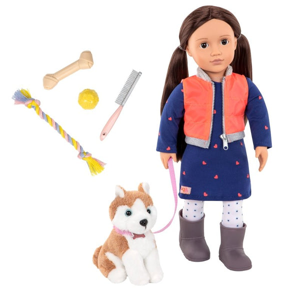 Our Generation Leslie Doll with Pet Husky - McGreevy's Toys Direct