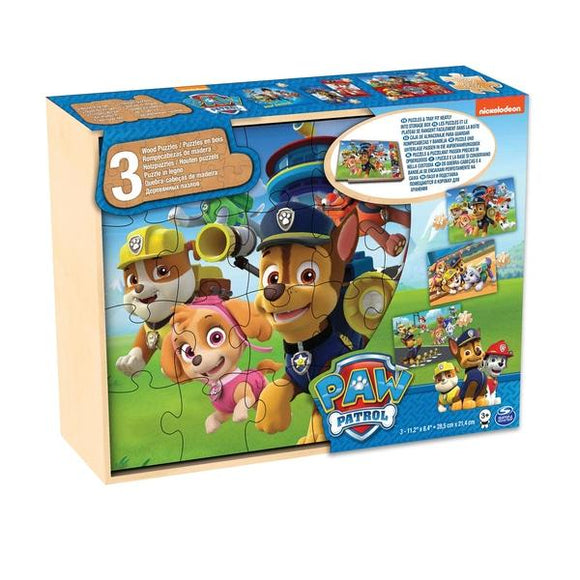 PAW Patrol 3-Pack Wooden Puzzles in Storage Tray - McGreevy's Toys Direct
