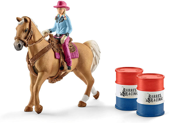 SCHLEICH 41417 Barrel Racing with Cowgirl - McGreevy's Toys Direct