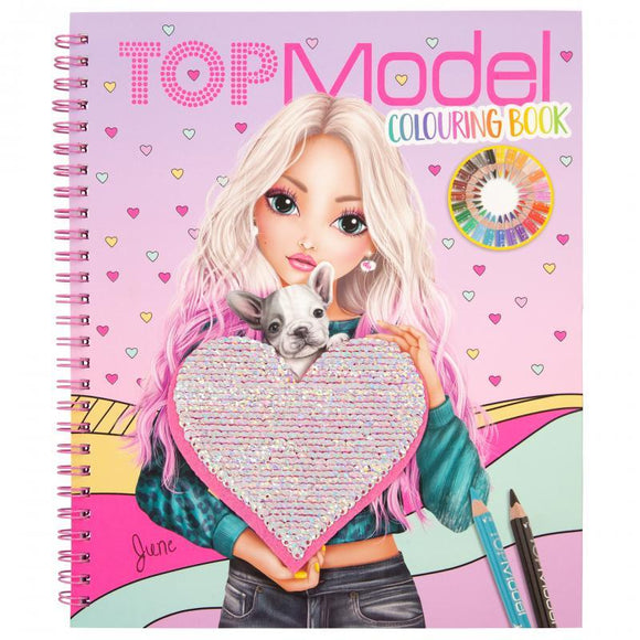 TOP MODEL Colouring Book with Reversible Sequins - McGreevy's Toys Direct
