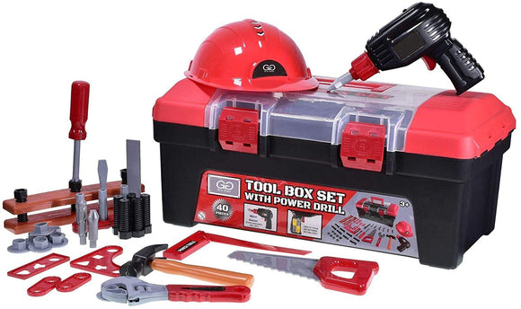 Toy Tool Box set with Drill and 40 Accessories - McGreevy's Toys Direct