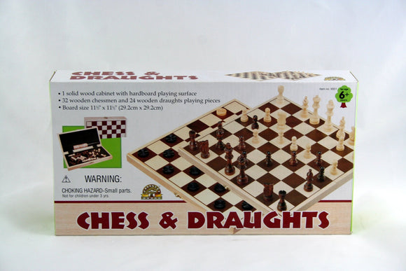 Wooden Chess & Draughts in Folding Case - McGreevy's Toys Direct
