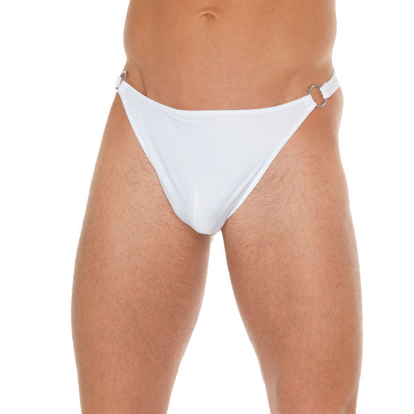 Mens White G String With Metal Hoop Connectors
