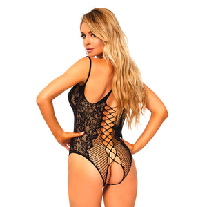 Leg Avenue Net And Lace Crotchless Teddy UK 8 to 14
