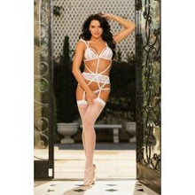 Load image into Gallery viewer, Sexy Strappy Lace Gartered Teddy White