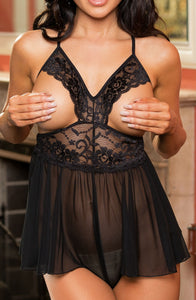 Stretch Lace Open Teddy Black