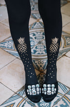 "Load image into Gallery viewer, Zohara ""If You Like Piña Coladas"" Gold Print Tights"
