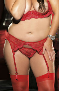 Scalloped Embroidery Garter Belt Red