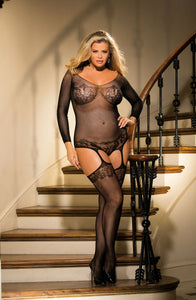 Plus Size Bodystocking Bustier Style w/Suspenders Black