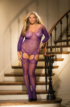 Load image into Gallery viewer, Plus Size Bodystocking Bustier Style w/Suspenders Purple